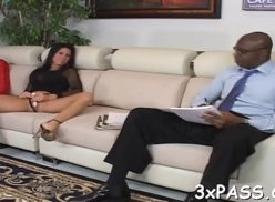 Brunette secretary tugs his boss bbc