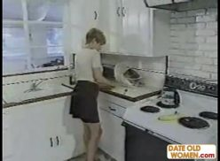 Hot American granny banged in the kitchen